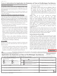 "Form 4 ""Application for Extension of Time to File Michigan Tax Returns"" - Michigan"