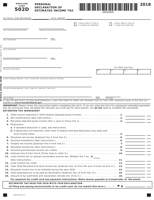Form 502D 2018 Printable Pdf