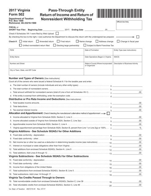 Form 502 2017 Printable Pdf