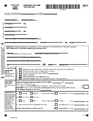 """Form 502 """"Resident Income Tax Return"""" - Maryland, 2017"""