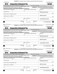 "Form 100-ES ""Corporation Estimated Tax"" - California, 2018"