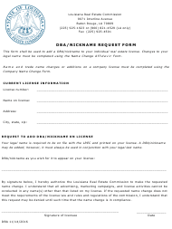 """Dba/Nickname Request Form"" - Louisiana"