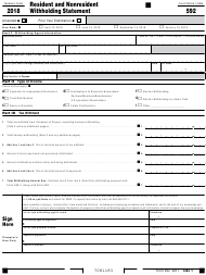 "Form 592 ""Resident and Nonresident Withholding Statement"" - California, 2018"