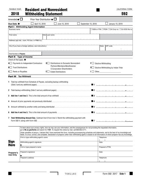 Form 592 2018 Printable Pdf