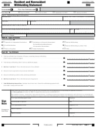 Form 592 2018 Resident and Nonresident Withholding Statement - California