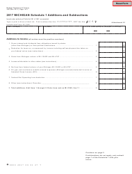 Form 3423 2017 Michigan Schedule 1 Additions And Subtractions - Michigan