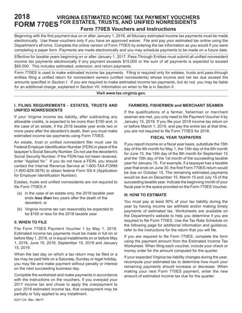Form 770ES 2018 Printable Pdf