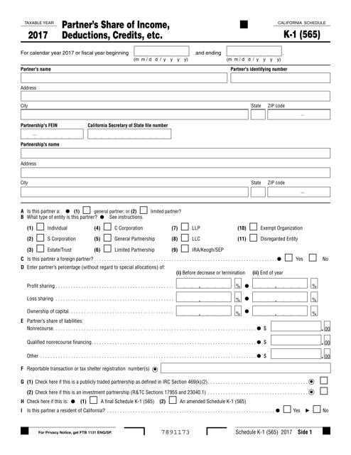 Form 565 Schedule K-1 2017 Printable Pdf