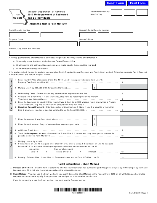 form 1040 underpayment penalty  Form MO-17 Download Fillable PDF 17, Underpayment of ...