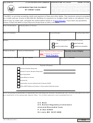 """NRC Form 629 """"Authorization for Payment by Credit Card"""""""