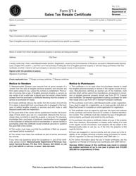 "Form ST-4 ""Sales Tax Resale Certificate"" - Massachusetts"