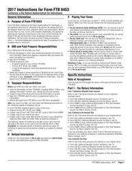 Instructions for Form Ftb 8453 - California E-File Return Authorization for Individuals 2017