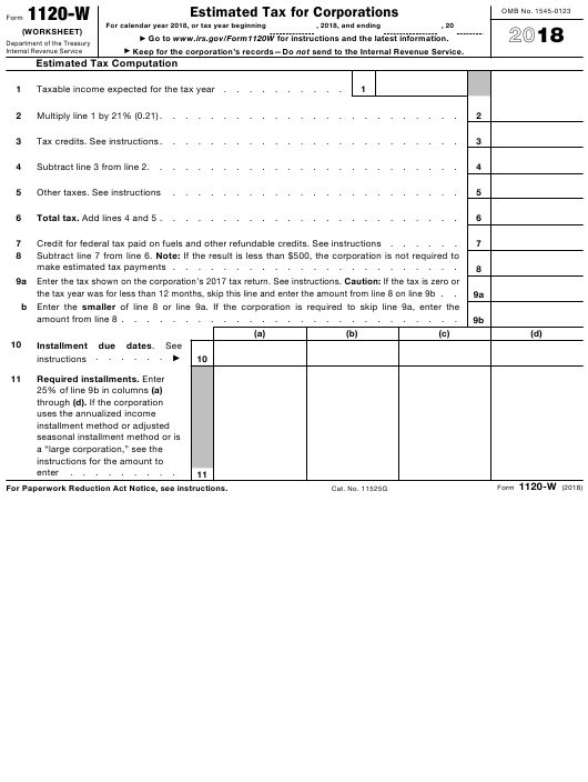 IRS Form 1120-W 2018 Fillable Pdf