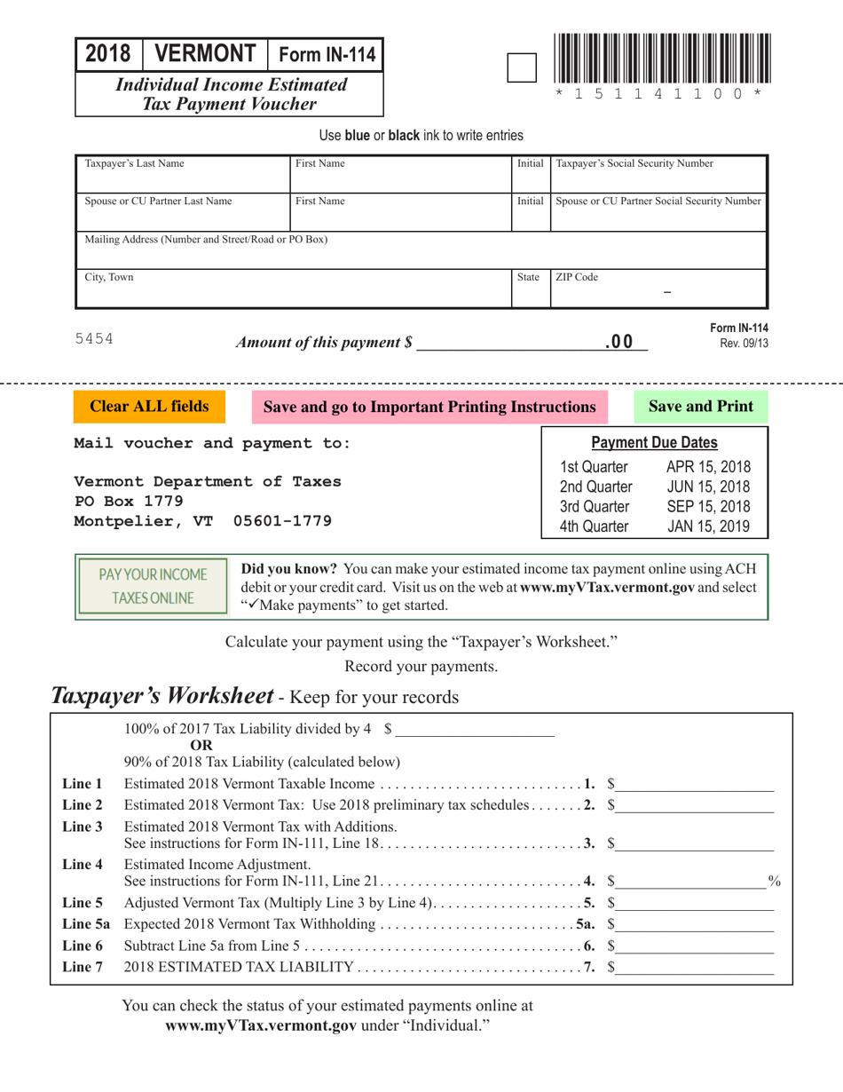 2018 estimated tax payment voucher forms