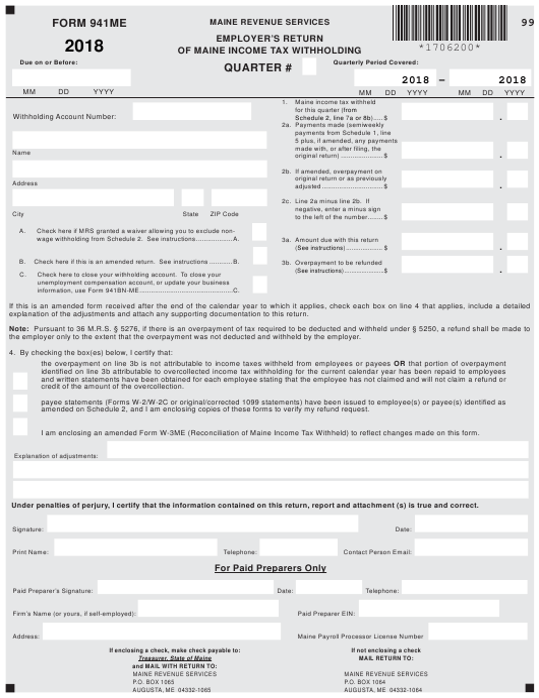 Form 941ME 2018 Printable Pdf
