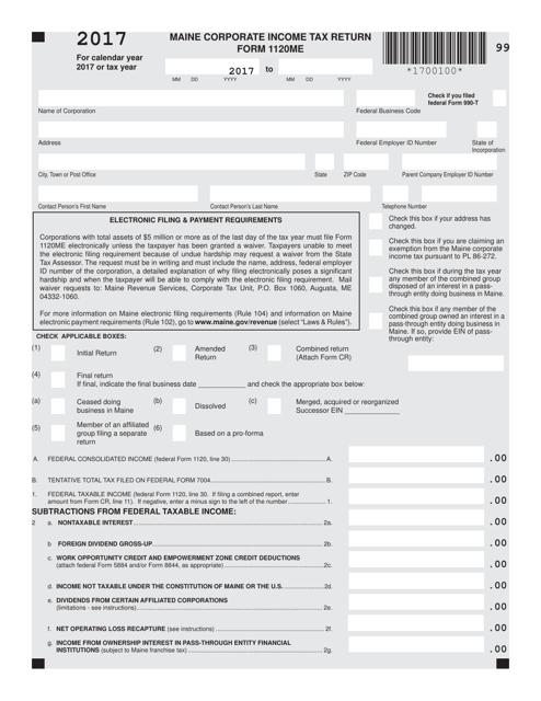Form 1120ME Printable Pdf