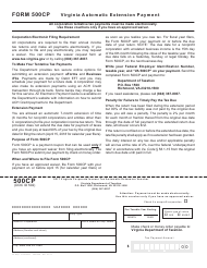 Form 500CP 2017 Virginia Corporate Income Tax Automatic Extension Voucher - Virginia