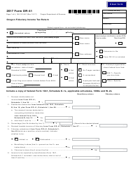 Form OR-41 2017 Oregon Fiduciary Income Tax Return - Oregon