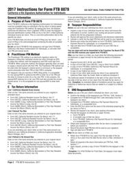 Instructions for Form Ftb 8879 - California E-File Signature Authorization for Individuals 2017