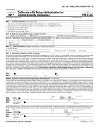 Form FTB 8453-LLC 2017 California E-File Return Authorization for Limited Liability Companies - California