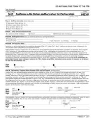 Form FTB 8453-P 2017 California E-File Return Authorization for Partnerships - California