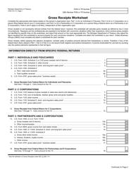 Form 4700 Gross Receipts Worksheet - Michigan