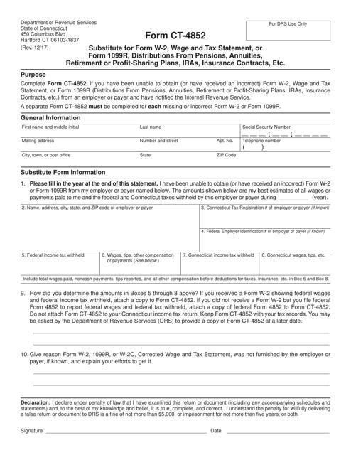 Form CT-4852 Printable Pdf