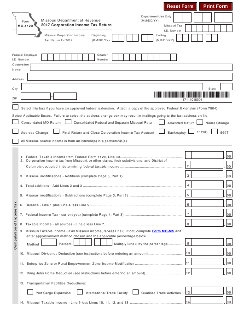 Form MO-1120 2017 Fillable Pdf