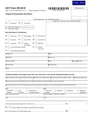 "Form OR-20-S ""Oregon S Corporation Tax Return"" - Oregon, 2017"