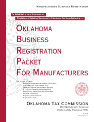 "OTC Form M ""Oklahoma Business Registration Packet for Manufacturers"" - Oklahoma"