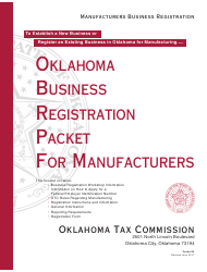Form M Oklahoma Business Registration Packet for Manufacturers - Oklahoma