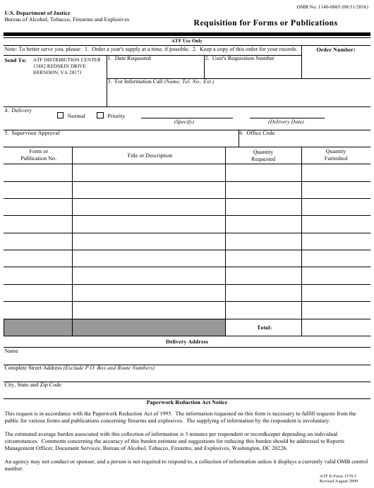 ATF Form 1370.3  Printable Pdf
