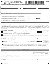 "Form EL101 ""E-File Declaration for Electronic Filing"" - Maryland, 2017"