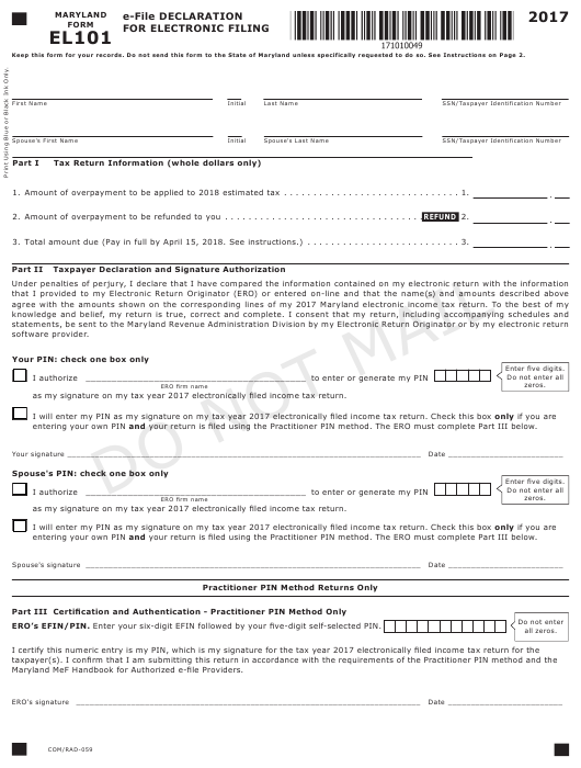 Form EL101 2017 Printable Pdf