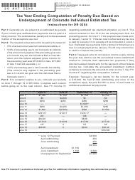 "Form DR0204 ""Tax Year Ending Computation of Penalty Due Based on Underpayment of Colorado Individual Estimated Tax"" - Colorado"