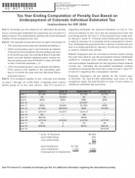 Form DR 0204 Tax Year Ending Computation of Penalty Due Based on Underpayment of Colorado Individual Estimated Tax - Colorado