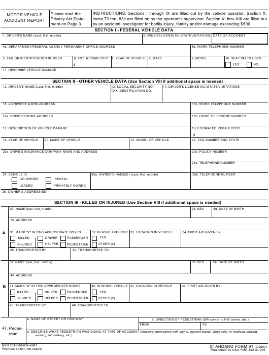 GSA Form SF-91 Printable Pdf