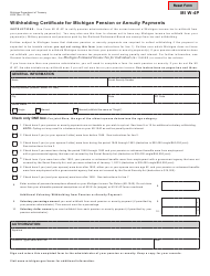 Form MI W-4P Withholding Certificate For Michigan Pension Or Annuity Payments - Michigan
