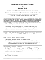 Instructions to Payors and Operators for Form W-9 - Request for Taxpayer Identification Number and Certification