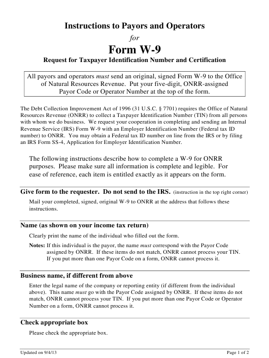 IRS Form W-9  Fillable Pdf