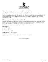 "Form YY ""Authorized Representative Form - Mnsure"" - Minnesota"