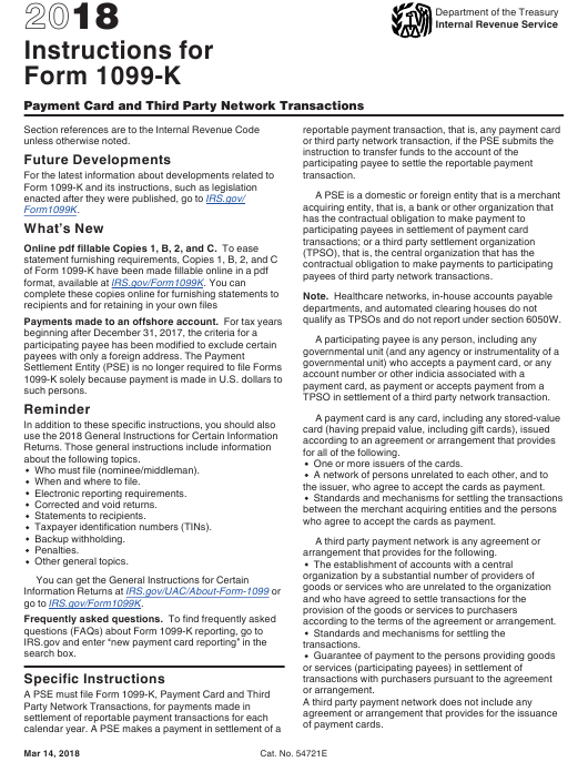 Instructions For Irs Form 1099 K Payment Card And Third Party
