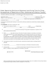"Official Form 313 ""Order Approving Disclosure Statement and Fixing Time for Filing Acceptances or Rejections of Plan, Combined With Notice Thereof"""