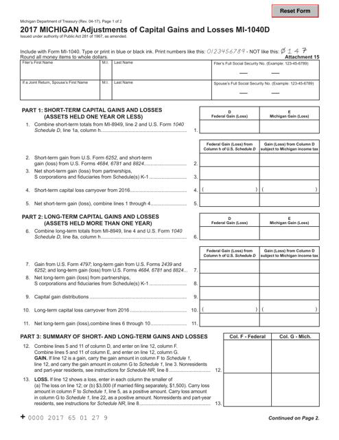 Form MI-1040D 2017 Printable Pdf