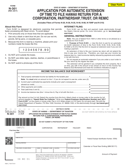 Form N-301 2017 Fillable Pdf