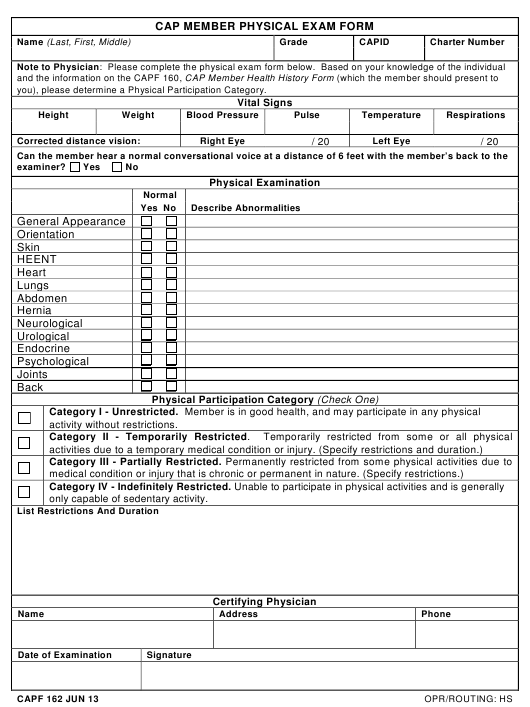 cap form 162 download fillable pdf  cap member physical