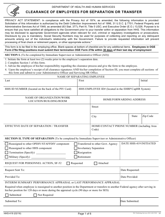 Form HHS-419 Download Fillable PDF, Clearance of Employees