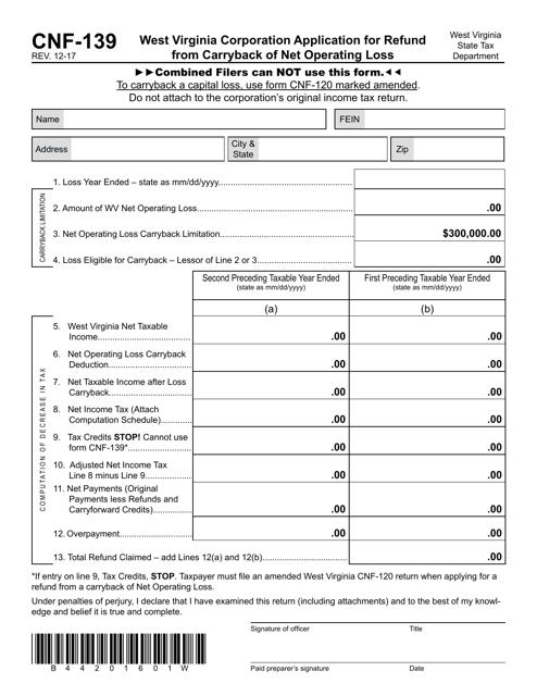 Form CNF-139 Printable Pdf