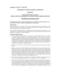 "CFTC Form SEF ""Swap Execution Facility Application or Amendment to Application for Registration"""