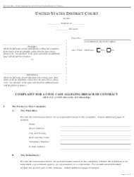 Form Pro Se 4 Complaint for a Civil Case Alleging Breach of Contract